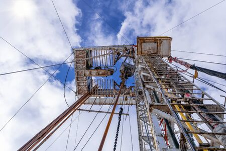 Drilling rig in oil field for drilled into subsurface in order to produced crude, inside view. Petroleum Industry. Onshore drilling rig.