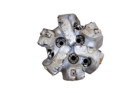 oil drilling equipment for workover. Used oil drilling bit head. Tricone Oil Drill Bits isolated on white background.