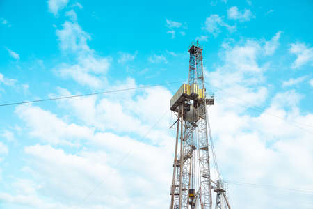 Oil and Gas Drilling Rig. Oil drilling rig operation on the oil platform in oil and gas industry