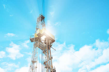 Drilling rig in oil field for drilled into subsurface in order to produced crude, inside view. Petroleum Industry. Onshore drilling rig