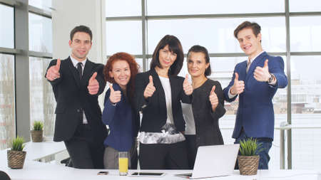 Office and teamwork concept, group of business people having a meeting and showing thumbs up