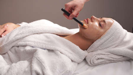 Spa therapy for young woman receiving facial mask at beauty salon. Beautician does face mask.