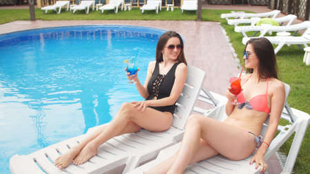 Attractive young girlfriends in swimsuits rest by the pool with cats in their hands.