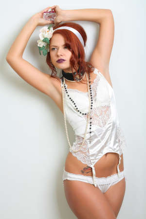 red head woman: Girl in lingerie