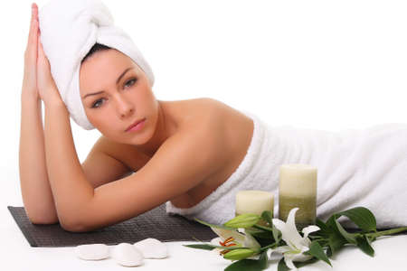 hand towel: Girl relaxing in spa Stock Photo