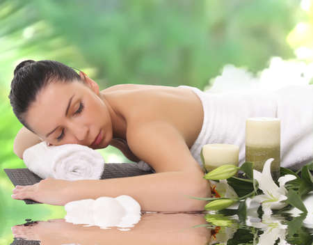 A beautiful woman relaxing in spa