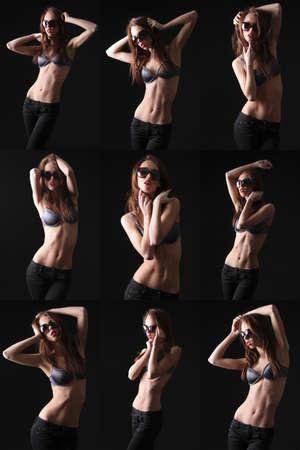 portrait of a beautiful fashion model in sunglasses photo
