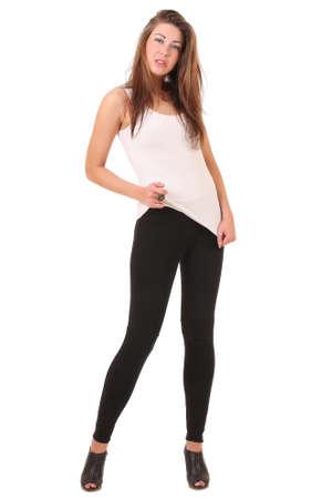 leggings: girl in a white T-shirt and leggings