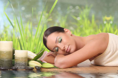beautiful woman relaxing at spa