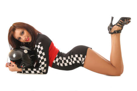 sexy girl in a racing suit 스톡 콘텐츠