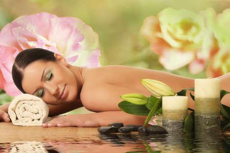 asia nude: spa woman  spa salon Stock Photo