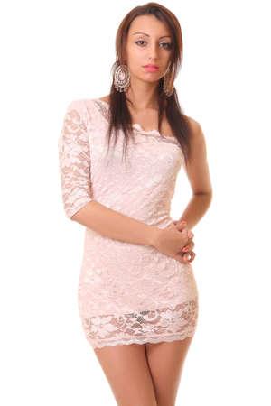 Beautiful sexual brunette in pink Standard-Bild
