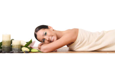 beautiful woman relaxing at spa, isolated on white Stock Photo - 16443821