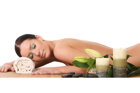 beautiful woman relaxing at spa, isolated on white Stock Photo - 16443827
