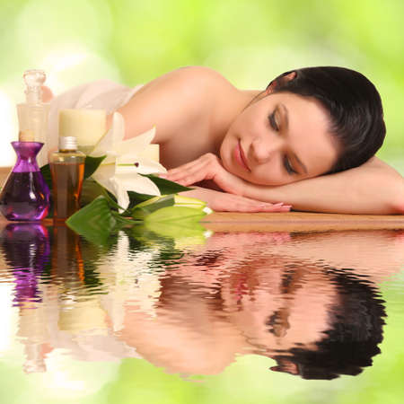 portrait of a girl in a spa Imagens