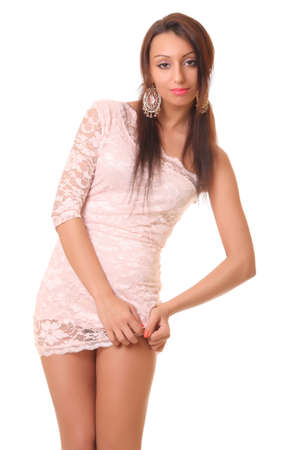 philippine adult: sexy girl in pink short dress. isolated on white Stock Photo