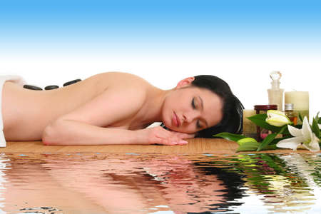 therapy with hot stones in spa center Stock Photo - 23884813