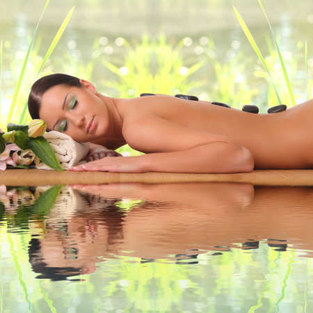happy woman relaxing in spa Stock Photo - 23965137