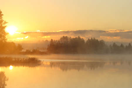 beautiful bright dawn in the mist Stock Photo