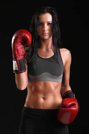 knockout: girl with boxing gloves Stock Photo