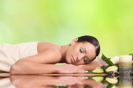 young healthy girl relaxing in spa Stock Photo