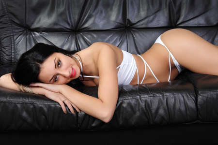 sexy babe in white lingerie photo