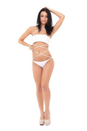 girl in a white bathing suit on a white background photo