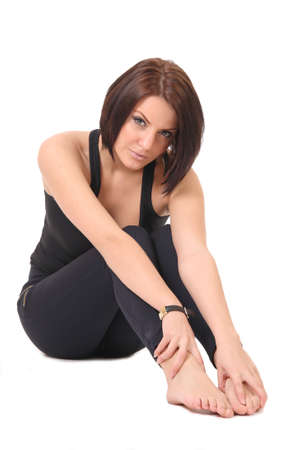girl in a black shirt and leggings photo