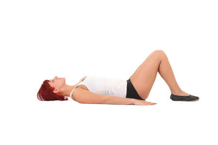 Young woman training yoga.Training breathing  photo