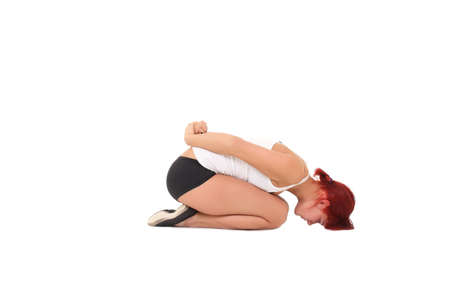 Young woman training yoga.pose a child photo