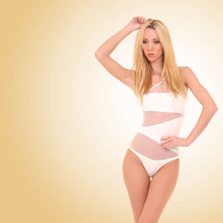 beautiful in a white bathing suit photo