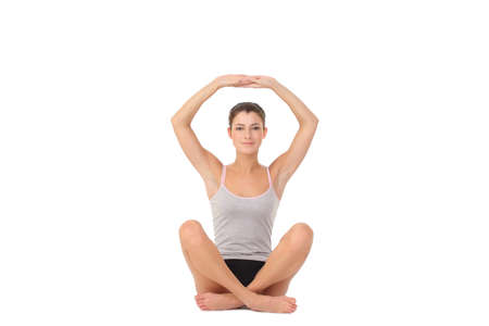 Young woman training yoga photo