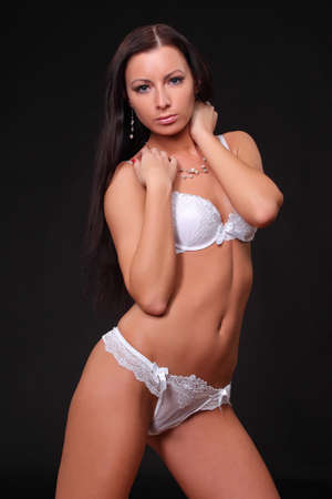 sexy brunette in lingerie photo