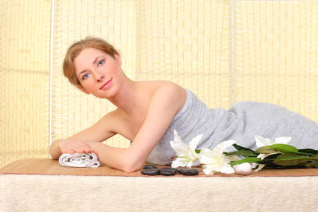 woman relaxing in a spa photo