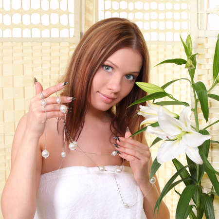 sexual chakra: portrait of a young pretty girl Stock Photo