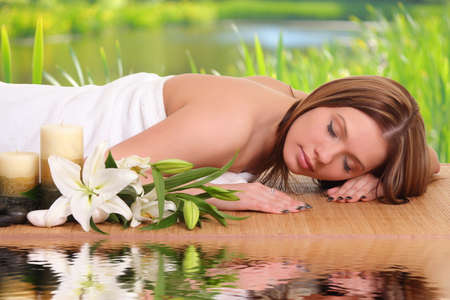 sexual chakra: Spa Woman.beautiful woman relaxing Stock Photo