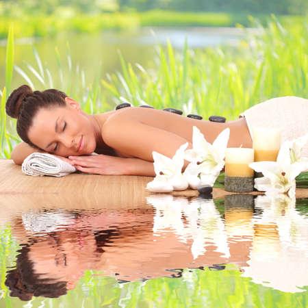 Spa Woman.beautiful woman relaxing 스톡 콘텐츠