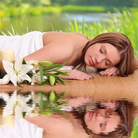 sexual chakra: Spa Woman.beautiful woman relaxing in spa Stock Photo