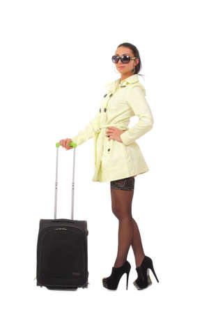 woman going on holiday with suitcase photo