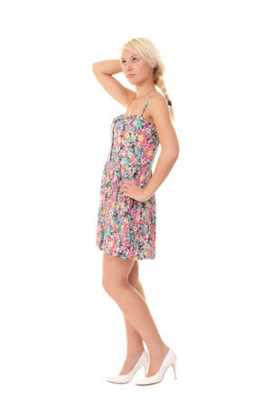 teenage girl dress: young blonde in a color summer dress Stock Photo