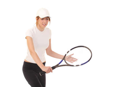 authoritative woman: Slim brunette playing tennis Stock Photo