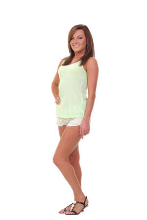 young girl in shorts and a T-shirt photo