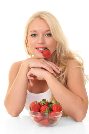 beautiful young blond woman with strawberry photo