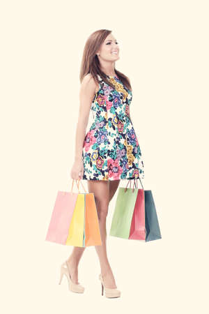 walking with shopping bags