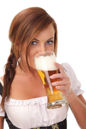 Beautiful sexy young woman drinking beer photo