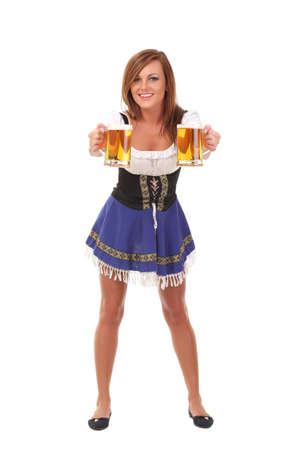 Beautiful  young smiling woman giving beer photo