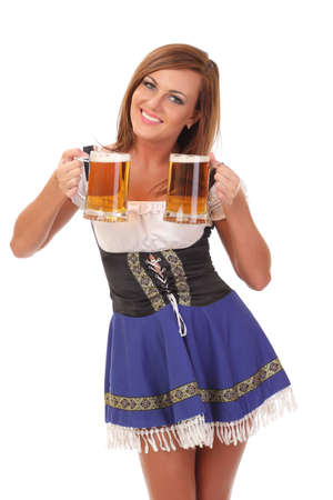 smiling waitress with two mugs of beer photo