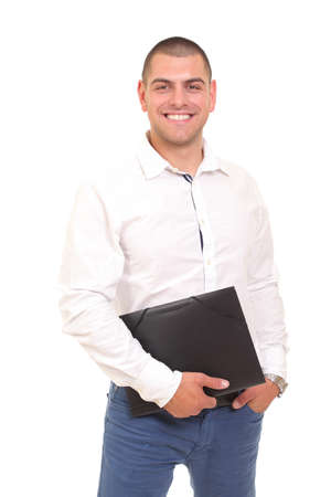 man with a folder and papers in his hands