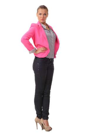 beautiful young woman posing in a jacket photo