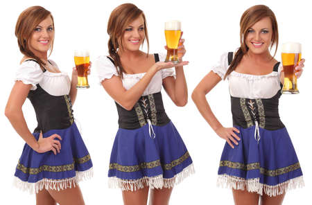 Beautiful young smiling woman giving beer Stock Photo